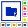 Folder information framed flat icons - Set of color square framed Folder information flat icons
