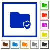 Protected folder framed flat icons - Set of color square framed protected folder flat icons