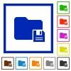 Save folder framed flat icons - Set of color square framed save folder flat icons
