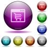 Webshop application glass sphere buttons - Set of color Webshop application glass sphere buttons with shadows.