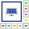 Set of color square framed solar panel flat icons - Solar panel framed flat icons