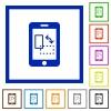 Mobile gyrosensor framed flat icons - Set of color square framed Mobile gyrosensor flat icons