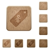 Discount price label wooden buttons - Set of carved wooden discount price label buttons in 8 variations.