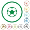 Soccer ball outlined flat icons - Set of soccer ball color round outlined flat icons on white background