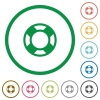 Lifesaver outlined flat icons - Set of lifesaver color round outlined flat icons on white background