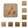 Cubes wooden buttons - Set of carved wooden cubes buttons in 8 variations.