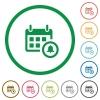 Calendar alarm outlined flat icons - Set of calendar alarm color round outlined flat icons on white background