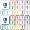 Data network color outlined flat icons - Set of data network flat rounded square framed color icons on white background. Thin and thick versions included.