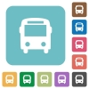 Flat bus icons - Flat bus icons on rounded square color backgrounds.