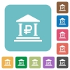Flat Ruble bank icons - Flat Ruble bank icons on rounded square color backgrounds.