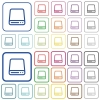 Hard disk drive color outlined flat icons - Set of hard disk drive flat rounded square framed color icons on white background. Thin and thick versions included.