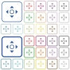 Scroll color outlined flat icons - Set of scroll flat rounded square framed color icons on white background. Thin and thick versions included.