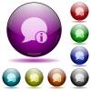 Blog comment info glass sphere buttons - Set of color blog comment info glass sphere buttons with shadows.