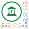 Indian Rupee bank outlined flat icons - Set of indian Rupee bank color round outlined flat icons on white background