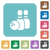 Flat bowling icons - Flat bowling icons on rounded square color backgrounds.