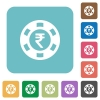 Flat indian Rupee casino chip icons - Flat indian Rupee casino chip icons on rounded square color backgrounds.