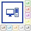 Desktop computer framed flat icons - Set of color square framed desktop computer flat icons