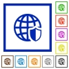 Internet security framed flat icons - Set of color square framed internet security flat icons