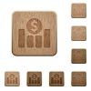 Dollar graph wooden buttons - Set of carved wooden Dollar graph buttons in 8 variations.