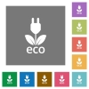 Eco energy flat icon set on color square background. - Eco energy square flat icons