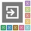 Import square flat icons - Import flat icon set on color square background.