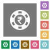 Indian Rupee casino chip square flat icons - Indian Rupee casino chip flat icon set on color square background.