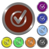 Color checked data buttons - Set of color glossy coin-like checked data buttons