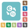Flat Euro new Shekel exchange icons - Flat Euro new Shekel exchange icons on rounded square color backgrounds.