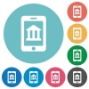 Flat mobile banking icons - Flat mobile banking icon set on round color background.