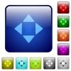 Color control arrows square buttons - Set of control arrows color glass rounded square buttons
