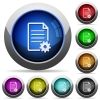 Document setup button set - Set of round glossy document setup buttons. Arranged layer structure.
