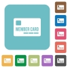 Flat member card icons - Flat member card icons on rounded square color backgrounds.