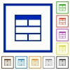 Spreadsheet horizontally merge table cells framed flat icons - Set of color square framed Spreadsheet horizontally merge table cells flat icons