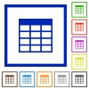Spreadsheet table framed flat icons - Set of color square framed Spreadsheet table flat icons