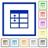 Spreadsheet adjust table row height framed flat icons - Set of color square framed Spreadsheet adjust table row height flat icons