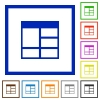 Spreadsheet vertically merge table cells framed flat icons - Set of color square framed Spreadsheet vertically merge table cells flat icons