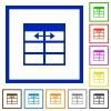 Spreadsheet adjust table column width framed flat icons - Set of color square framed Spreadsheet adjust table column width flat icons
