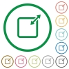 Adjust item size outlined flat icons - Set of adjust item size color round outlined flat icons on white background