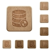 Set of carved wooden protect database buttons in 8 variations. - Protect database wooden buttons