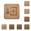Set of carved wooden user login buttons in 8 variations. - User login wooden buttons