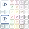 Rotate element color outlined flat icons - Set of rotate element flat rounded square framed color icons on white background. Thin and thick versions included.