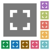 Selector tool square flat icons - Selector tool flat icon set on color square background.