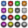 Statistics glossy button set - Set of statistics glossy web buttons. Arranged layer structure.