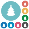 Flat Christmas tree icons - Flat Christmas tree icon set on round color background.
