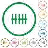 Graphical equalizer outlined flat icons - Set of graphical equalizer color round outlined flat icons on white background