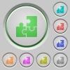 Puzzles push buttons - Set of color puzzles sunk push buttons.