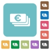 Flat Euro banknotes icons - Flat Euro banknotes icons on rounded square color backgrounds.