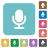 Flat microphone icons - Flat microphone icons on rounded square color backgrounds.