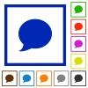 Set of color square framed blog comment flat icons - Blog comment framed flat icons