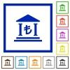 Turkish Lira bank framed flat icons - Set of color square framed turkish Lira bank flat icons